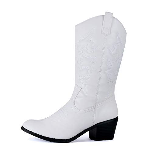 West Blvd Miami Cowboy Western Boots, White Pu,