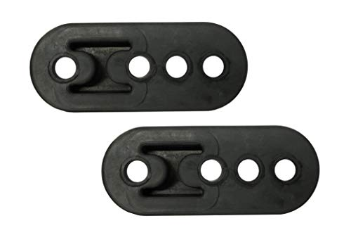 PitVisit Premium 4 Hole Exhaust Hanger Mount Bushings High Density Rubber Insulator Shock Absorbent Replacement Support Bracket for Tail Pipe Exhaust System (Black - 2 Pack) ()