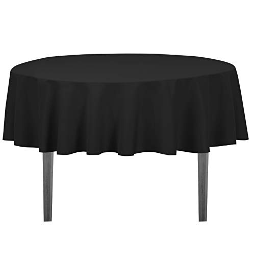 LinenTablecloth 70-Inch Round Polyester Tablecloth Black
