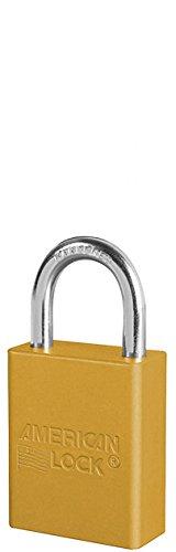 American Lock S1105YLW Padlock Keyed Shackel, Aluminum, 1'', Yellow