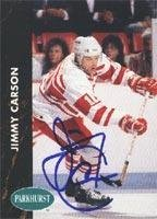 Jimmy Carson Detroit Red Wings 1991 Parkhurst Autographed Card. This item comes with a certificate of authenticity from Autograph-Sports. Autographed -
