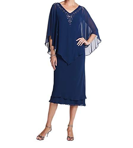 V Festlichkleider Blau Royal Chiffon Brautmutterkleider Ausschnitt Partykleider Kurz Charmant Promkleider Damen S8YF6F