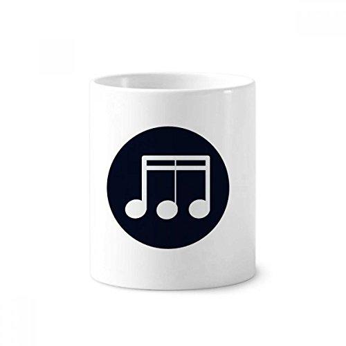 Triple-Demiquaver Music Note Black Toothbrush Pen Holder Mug White Ceramic Cup 350ml