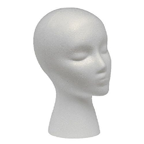 Styrofoam Mannequin Head with Female Face (1) (Manikin Styrofoam Head)