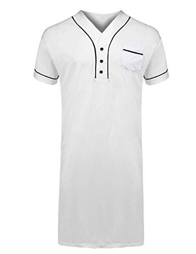 Adidome Men's Nightshirts Soft Cotton Big & Tall Short Sleeve Henley Sleep Shirt by Adidome