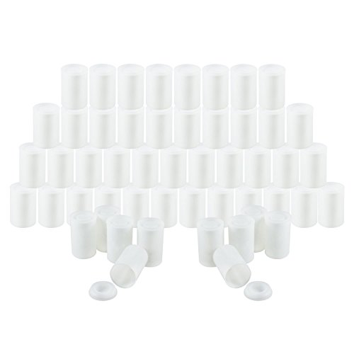 """Houseables Film Canister, 35MM Empty Camera Reel Containers, 60 Pack, White, 2"""" H, 1"""" W, Plastic, Films Developing Processing Tube, Roll Case, With Caps, For Small Accessories, Beads, Alka Seltzer"""