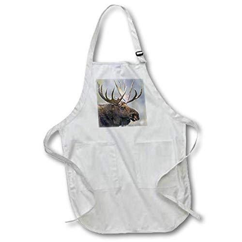 3dRose Danita Delimont - Moose - USA, Wyoming, Grand Teton National Park, Bull Moose Portrait. - Full Length Apron with Pockets 22w x 30l (apr_315222_1) ()