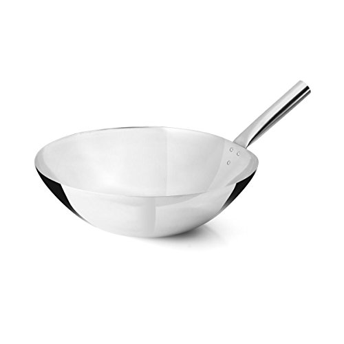 "FortheChef's 16"" Stainless Steel Chinese Wok with Riveted Joint"