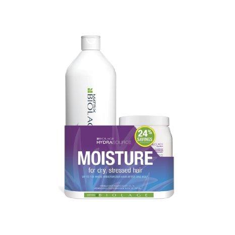 Biolage Hydrasource Moisture Shampoo 33.8oz & Conditioning Balm 16.9 Oz Duo (Matrix Biolage Conditioning)