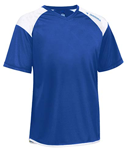 Diadora Grinta Short-Sleeve Soccer Goalkeeper Jersey Personalized with Your Name and Number - Color Royal Blue - Size Youth Large