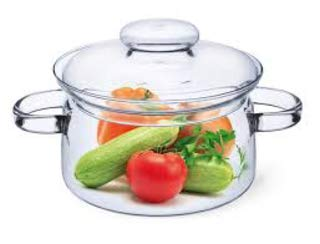 Simax Glassware 1 Quart Glass Pot | With Lid, Heat Resistant Handles, Doubles as Serving Dish, Made from Oven, Microwave, Stove and Dishwasher Safe Borosilicate ()