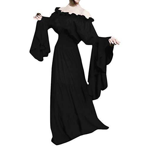 WEISUN Women Retro Medieval Dress Renaissance Cosplay Vintage Party Club Elegante Maxi Dress Black