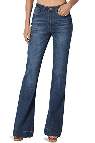 TheMogan Women's Vintage Mid Rise Waist Bell Bottom 70's Flared Jeans Dark 3