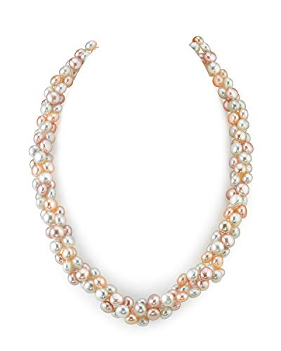 - THE PEARL SOURCE 5-6mm Genuine Multicolor Freshwater Cultured Pearl Necklace for Women