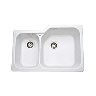 Rohl 6339-00 33 Allia Double Basin Undermount Fireclay Kitchen Sink with Large Right Basin, White
