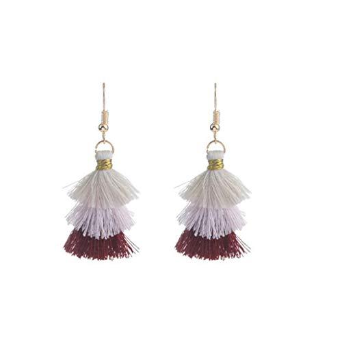 WEILYDF Ethnic Style Earrings Simple Multi-Layer Tassel Cascading Earrings Stylish Glamour Handmade Earrings Hoop Earrings ()
