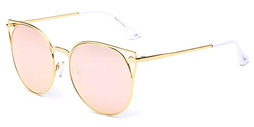 Cramilo Retro Vintage Mirrored Round Cateye Sunglasses for - 2016 Female For Glasses Face Round