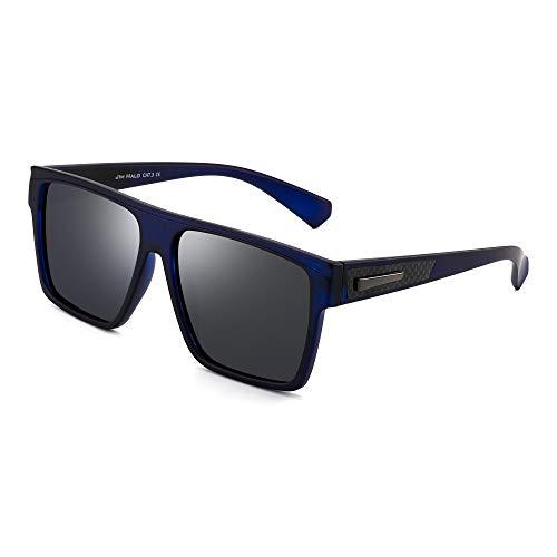 JIM HALO Retro Polarized Sunglasses Men Women Flat Top Square Driving Glasses (Blue Frame/Polarized Blue ()
