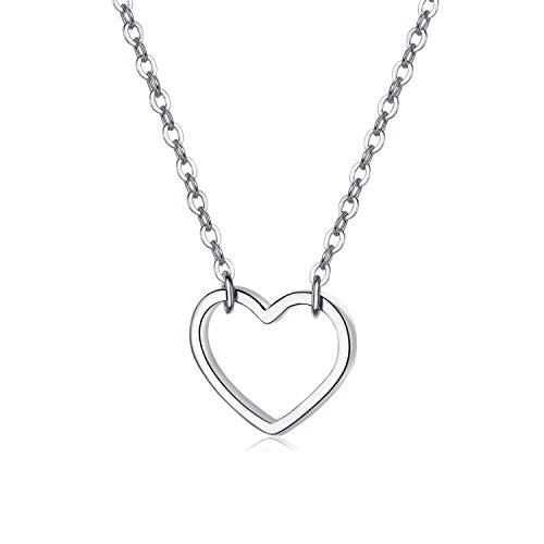 EVERU Open Heart Necklace 925 Sterling Silver Love Pendant for Women Girl (Silver)