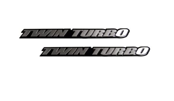 2 x (pair/Set) Twin Turbo Aluminum Emblems Badges for Toyota Camry Corolla Supra JZA80 Mitsubishi 3000GT Lancer EVO Evolution X Mazda RX7 RX-7 Volvo S80 ...