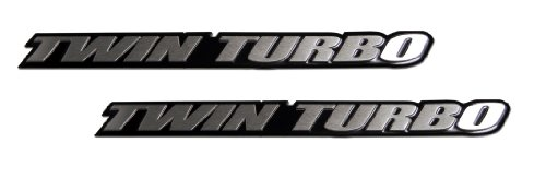 2 x (pair/Set) Twin Turbo Aluminum Emblems Badges for Nissan 300ZX Z32 G35 Skyline GTR GT-R 350Z Maxima Ultima Subaru WRX STi