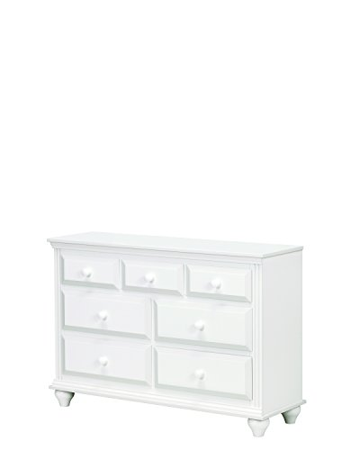 Lang Furniture Solid Wood Madison 7-Drawer Dresser with Roller Glides, 16 by 48 by 33-Inch, White -