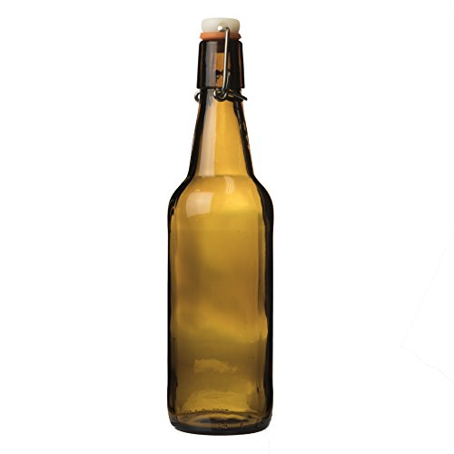 Style Water Bottle (Cultures for Health Flip-Top Amber Bottles For Kombucha, Beer, Water Kefir, And Homemade Soda. Grolsch-Style With Air-Tight Seal. 500 ml, 16.9 oz, Case of 12)