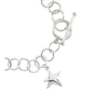 Bague en argent Sterling 925 Chain Bracelet étoile 7,5 cm Taille L 1/2-JewelryWeb