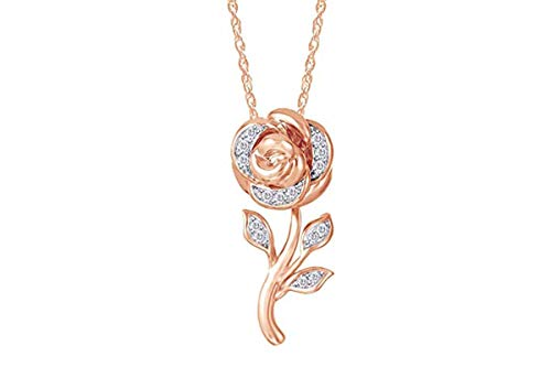 Wishrocks 1/10 cttw Natural Diamond Disney Belle Rose Pendant in 10k Rose Gold