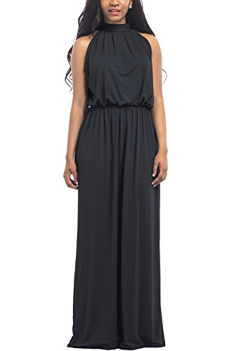 WIWIQS Women's Halter Loose A-line Casual Maxi Dress Plus Size Party Club Long Dresses,Black,XXXL
