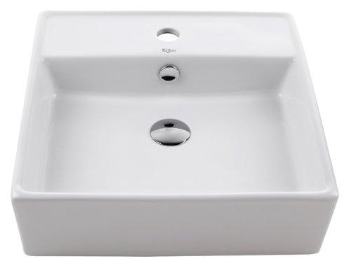 Kraus KCV-150-CH Ceramic Above counter Square Bathroom Sink, 18.6 x 18.6 x 5.8 inches, Chrome/White