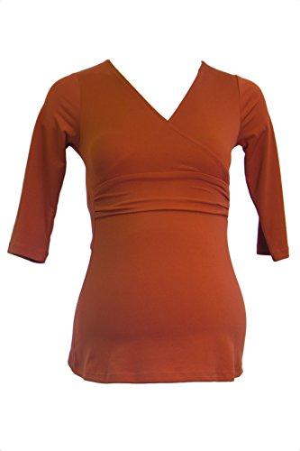 Olian Maternity Women's 3/4 Sleeve Faux Wrap Top F45932 X-Small Rust - Olian Maternity 3/4 Sleeve Top