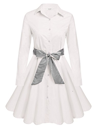 ACEVOG-50s-60s-Vintage-Long-Sleeves-Swing-Party-Shirt-Dress-with-Belt