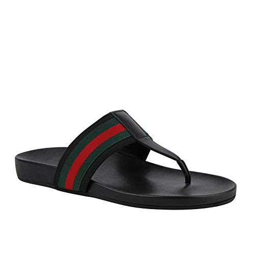 (Gucci Thong Sandals Black Leather with GRG Web Detail 386768 1069 (9.5 G / 10)