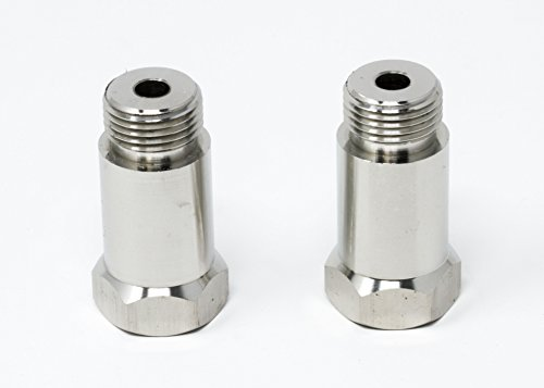 (EzMotive CEL Fix Check Engine Light Eliminator Adapter - Universal Sensor Bung- Stainless Steel - Pack of 2)