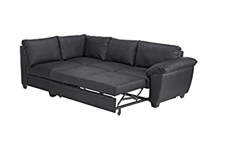 Awesome Fernando Leather Right Hand Sofabed Corner Group Black Caraccident5 Cool Chair Designs And Ideas Caraccident5Info