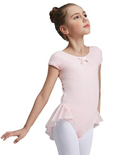 (MdnMd Girls' Cap Sleeve Flutter Leotard Dress (2-4 / Toddler, Ballet)