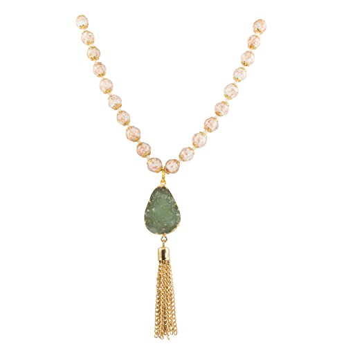 Strand Venetian Necklace (JGMJ Venice Murano Glass White Bead Long Strand Necklace with Gold Plated Green Druzy Quartz and Tassel, 26+2