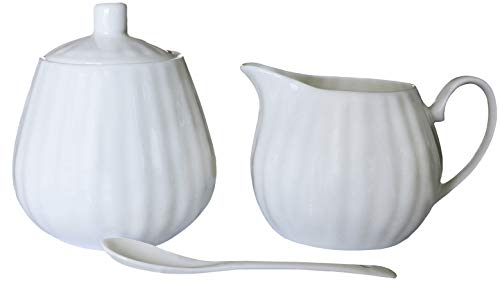 AFYBL Bone China Creamer and Sugar Sets with Lid and Spoon for Home and Kitchen - Modern Design Cream Pitcher, Tea & Coffee Serving Set,White