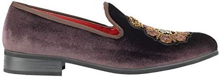 Los Hombres De Terciopelo De Los Holgazanes De La Abeja Y De La Corona De La Vendimia De Vestir Bordada con Motivos Zapatos Ponerse Babuchas
