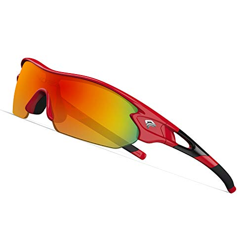 Sunglasses Kids (TOREGE Tr90 Flexible Kids Sports Sunglasses Polarized Glasses for Junior Boys Girls Age 3-12 TR04 (Red&Black&Red Lens))