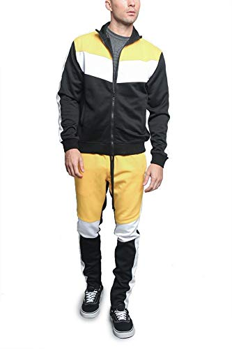 G-Style USA Tri Colorblocked Striped Outseam Sleeves Zipper Drawstring Fashion Workout Track Suit ST553 - Gold - Medium - V1A