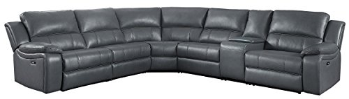 "Homelegance Falun 120"" Power Reclining Sectional Sofa with USB Port, Gray Leather Gel Match"