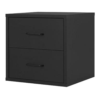 Foremost 327406 Modular 2-Drawer Cube Storage System, Black