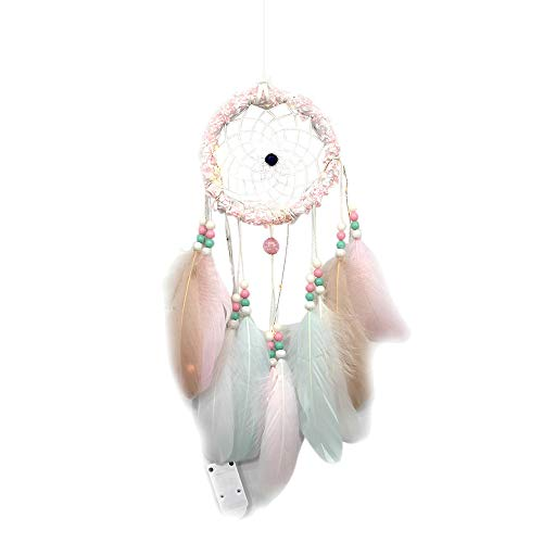 Fashionhe Glow Handmade Dream Catcher Feathers Dreamcatcher Night Light Car Wall Hanging Room Home Xmas -