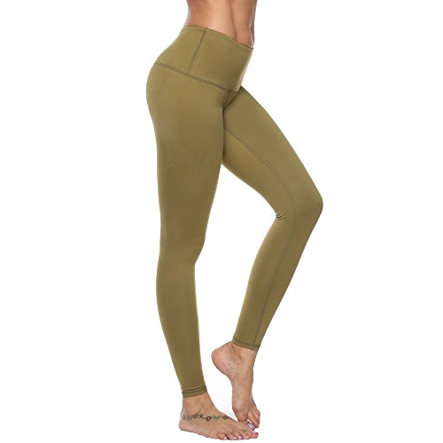 RURING Women's High Waist Yoga Pants Tummy Control Workout Running 4 Way Stretch Yoga Leggings, Army Green, Medium -