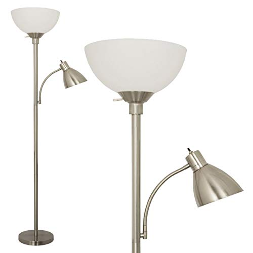 - Floor Lamp by Light Accents - Metal Standing Lamp with Side Reading Light - Mother Daughter Tall Torchiere - Floor Lamp for Living Room (Brushed Nickel)