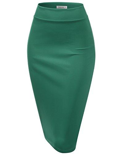 Vintage Green Jade (CLOVERY Slim Vintage Pencil Skirts for Women Jade M)
