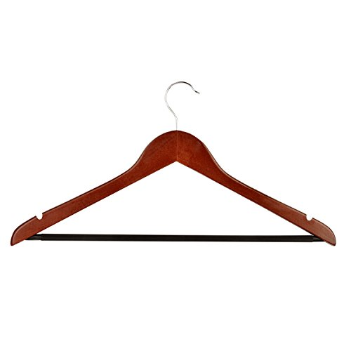 Cherry Real Wood - Honey-Can-Do No Slip Wooden Coat Hangers, Cherry Wood, 24-Pack