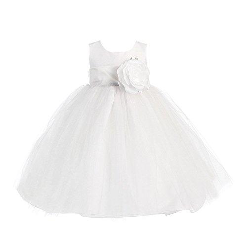 (Blossom Poly Silk Bodice & Tulle Skirt Dress with Detachable Flower & Sash (3T, White/White))